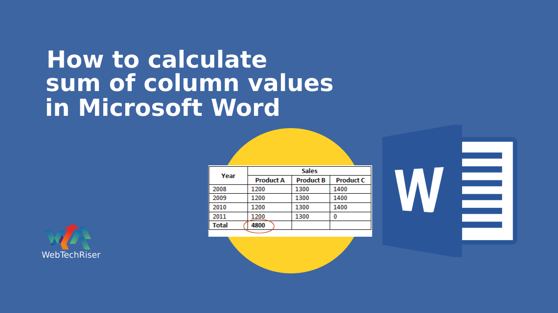 How to calculate sum of column values in Microsoft Word