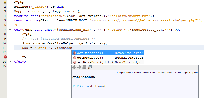 Singleton class auto complete hint in NetBeans 7.4