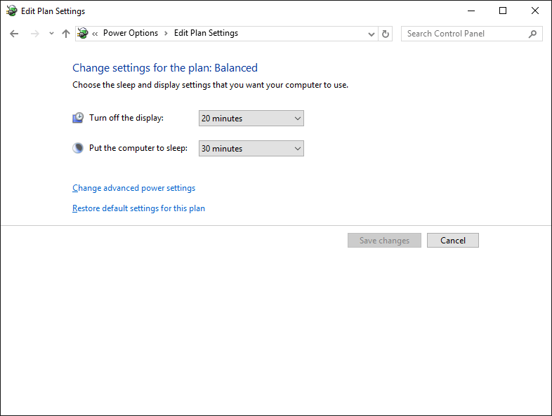 Edit power options screen