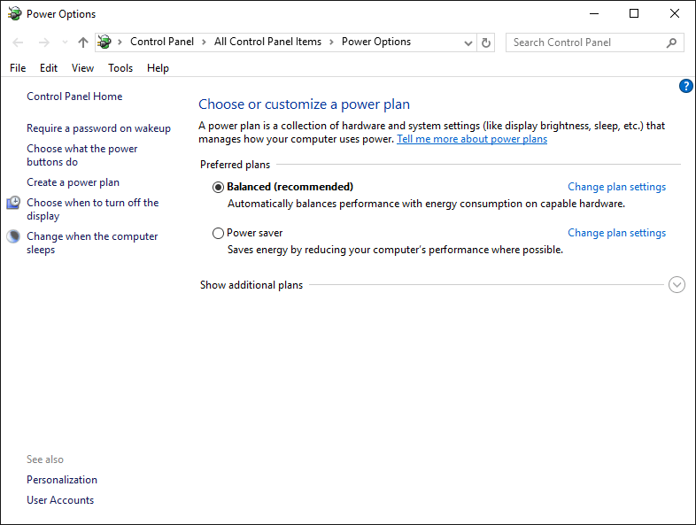 Power Options settings screen