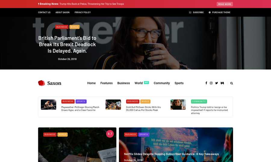 WordPress Newspaper Theme - Saxon
