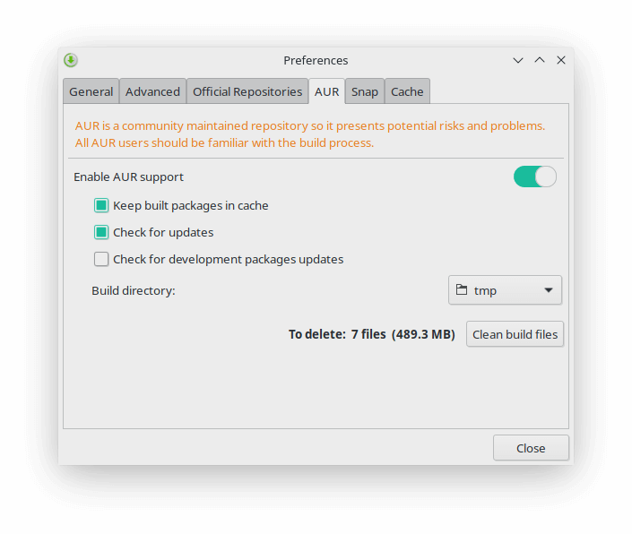 Enable AUR from Preferences in Manjaro