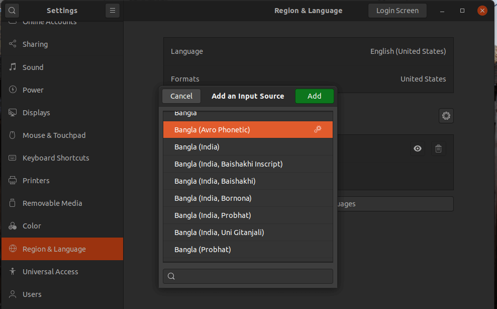 Ubuntu input source Bangla