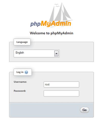phpMyAdmin default login page